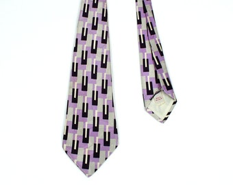 ABSTRACT vintage 1950s silk tie • lavender & gray modernist print necktie