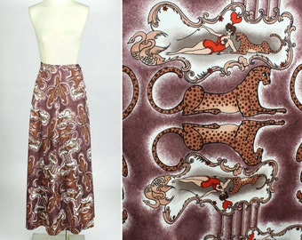 vintage 1970s maxi skirt CIRCUS PRINT • leopard acrobat