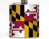 Maryland Flag Whiskey Flask Home State MD Baltimore Chesapeake Bay Birthday Groomsmen Gift Stainless Steel 6 oz Liquor Hip Flask LC-1581