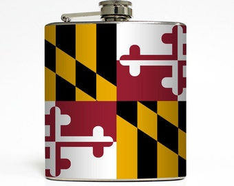 Maryland Flag Whiskey Flask Home State MD Baltimore Chesapeake Bay Birthday Groomsmen Gift Stainless Steel 6 oz Liquor Hip Flask LC-1581