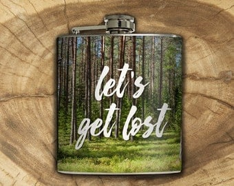 Let's Get Lost Whiskey Flask Traveler Forest Camping Hiking Outdoors Backpacking Nature Gift Stainless Steel 6 oz Liquor Hip Flask LC-1597