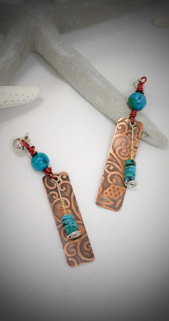Boho style copper and turquoise earrings from patty kreider for Just my style personalized jewelry studio