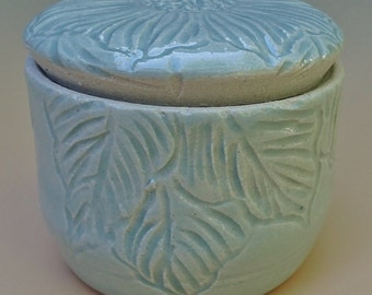 Stoneware French Butter Crock  Hand-carved LIMITED EDITION Design Hibiscus