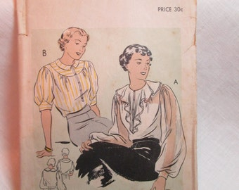 "Antique 1930's Vogue Pattern #7126 - size 36"" Bust"