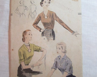 "Antique 1951 Vogue Pattern #7493 - size 32"" Bust"