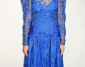 Vintage 80's Electric Blue Lace Ruched Formal Gown Prom Dress Back Bow - Size XS