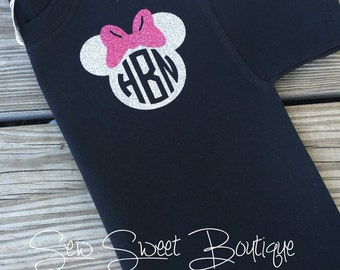 Disney Inspired Glitter Vinyl Minnie Mouse inspired Monogram Tee Shirt