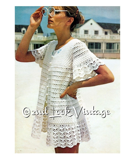 Vintage Crochet Pattern 1970s Baby Doll Mini Dress Lacy Beach Cover Up Digital Download PDF