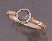 Grey rose cut diamond ring in 14 karat yellow and white gold