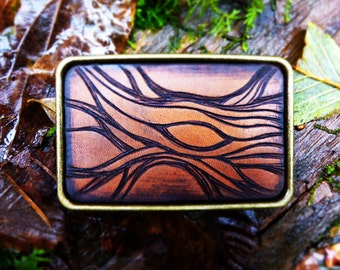 Belt Buckle with Tree Stump, Tree Buckle, Belt Buckle, Into the woods, Art on leather, Artonleather
