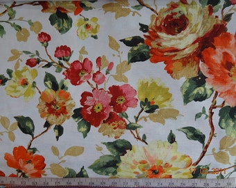 Custom Curtains Valance Roman Shade in Red / Orange / Yellow / Aqua Blue in Large Floral Pattern