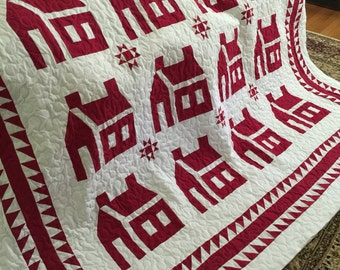 Quilt Red and White School House including Ohio Star Quilt Ready to Ship