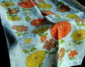 Vintage Linen Dish Towel, Yellow and Orange Flowers on Ivory Background, 1970s, Previously Used