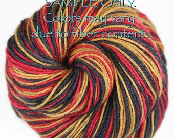 """Dyed to Order: """"49ers"""" - Self-striping Sock Yarn - Hand dyed - Indie dyed - NFL inspired yarn - Football team yarn - Team colors yarn"""