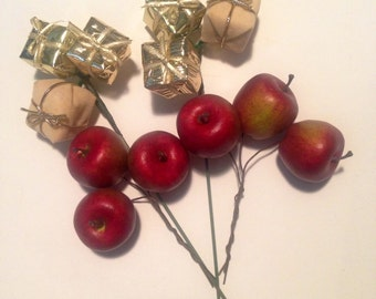 "FOUR Holiday Gift Package or Wreath Trims, ""Gold Gifts"" and ""Red Apples""!"