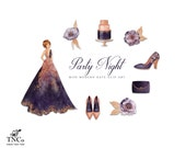 Party Clipart - Fashion Illustration - Scrapbook clipart - Planner sticker clipart - Commercial clipart - Digital Clipart - Rose gold - MK