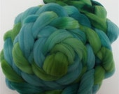 "Babydoll Southdown Wool for Spinning 4 Ounce Braid Combed Top Roving Aqua Lime Green Blue Fiber  "" Ocean Breeze ""  (2 available)"