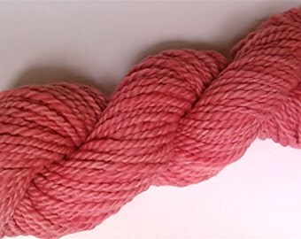 "Handspun Yarn Pink Bulky Thick Babydoll Wool & Alpaca 64 Yards Hand Dyed Two Ply Peachy Pink Doll Hair Knitting  "" Blush   "" (2 avail.)"