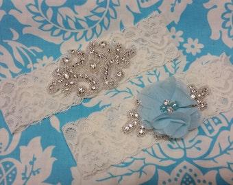 ivory Wedding Garter set  , stretch lace garter, crystal, rhinestone, blue chiffon beaded flower,