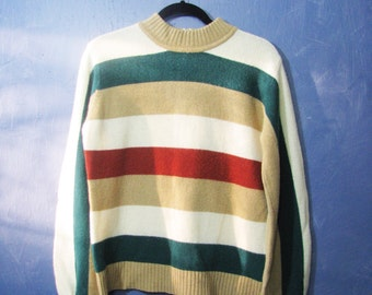 Vintage Color Block Sweater Striped Pullover with Zipper Fall Winter Fashion