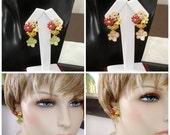 READY FOR SPRING Sale: Ashira Flower Garden Gold Drop Earrings with Green or Blush Flower Drop Dangle Earrings Sterling Stud