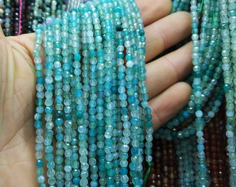 5 str -faceted Ocean Blue Agate 4mm round beads