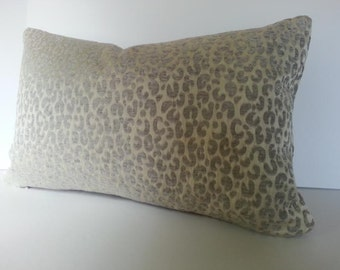 Both Sides - Snow Leopard Velvet / Chenille Pillow Cover in Silver Grey