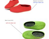 Custom Order Two Pairs of Wool Felted Slippers with Color Rubber Soles