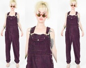 Reserved for LYNN ---1990's Purple CORDEROY OVERALLS. High Waist.Plum Purple. 90's Grunge. Mod Long Overalls. Dungarees size - Medium/M