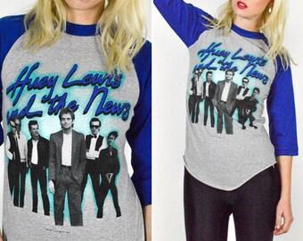 80's RARE HUEY LEWIS and The News Tour T Shirt size S/M - Original/Poly/Cotton