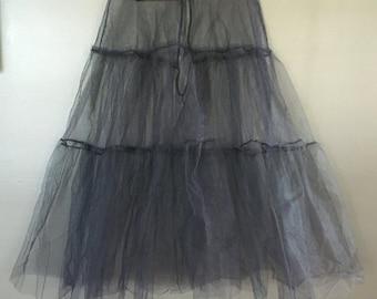 TULLE - black - CRINOLINE - slip - hook and eye closure - under skirt - size - S