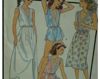 V-Neck Nightgown Pattern, Teddy, Lace Trim, Panties, Camisole, Blouson Waist, Style No. 1288 UNCUT Size 6-8 OR Size 10-12 (UNCUT)