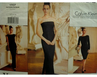 Calvin Klein Evening Gown, Fitted, Lined, Strapless/Bateau Neck, Cap/Long Sleeves, Vogue American Designer No. 1707 UNCUT Size 12 14 16