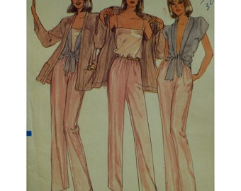 Evening Wear Pattern 4 Pieces, Camisole, Shawl Collar Tie Blouse, Jacket, Long Sleeves, Pockets, Pants, Vogue No.7844 UNCUT Size 14