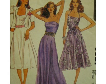 Strapless Sundress Pattern, Evening Wear, Bandeau Top, Flared Skirt, Fitted Bodice, Lined Jacket, Short Sleeves, McCalls No. 6987 Size 12