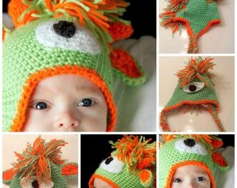 Crochet Pattern Monster Alien Mohawk Hat PDF