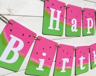 HAPPY BIRTHDAY banner, watermelon banner, summer birthday, pink and green, watermelon decoration, pool party banner, pool birthday banner