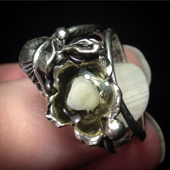 Blooming Incisor: Resin Set Real Human Baby Tooth Adjustable Flower Ring
