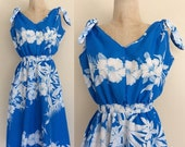 SALE 1970's Royal Blue Hawaiian Polyester Sun Dress Floral Print Vintage Dress w/ Shoulder Ties Size XS Small by Maeberry Vintage