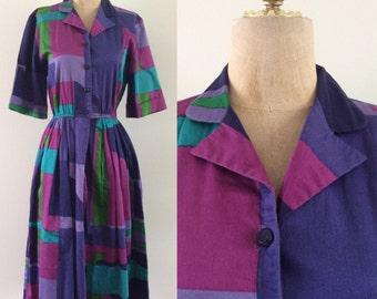 1980's Geo Print Cotton Shirtwaist Dress Size XS Small Medium by Maeberry Vintage