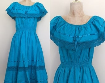 1970's Turquoise Medican Large Collar Off the Shiulder Vintage Embroidered Dress Sz Small Medium by Maeberry Vintage