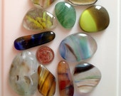 12 Multi Colored Fused Glass Cabochons Cabs from Fused Glass By Ginger