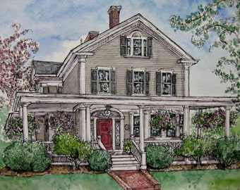 HOUSE PORTRAITS in Pen&Ink and Watercolor,Custom Original House Portrait,Heirloom,Realtors Gift,Wedding,Anniversary by Patty Fleckenstein