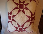Star pillow, recycled quilt star pillow, white and red pillow,decorative upcycled pillow, red patterned quilted fabric upcycled pillow
