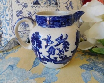 Vintage Blue Willow England Old Willow Pitcher Creamer