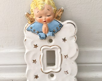 Vintage Ceramic Angel Light Switch Cover 1956