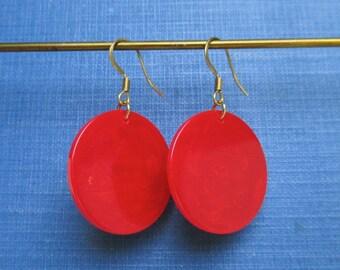 Red Marbled Bakelite Pierced Earrings - Pierced, Small Size