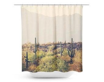 Cactus Shower Curtain - Desert Home Decor - Rustic Bathroom Decor - Southwest Photo - Tucson Decor - Bathroom Decor - Tan Green Brown