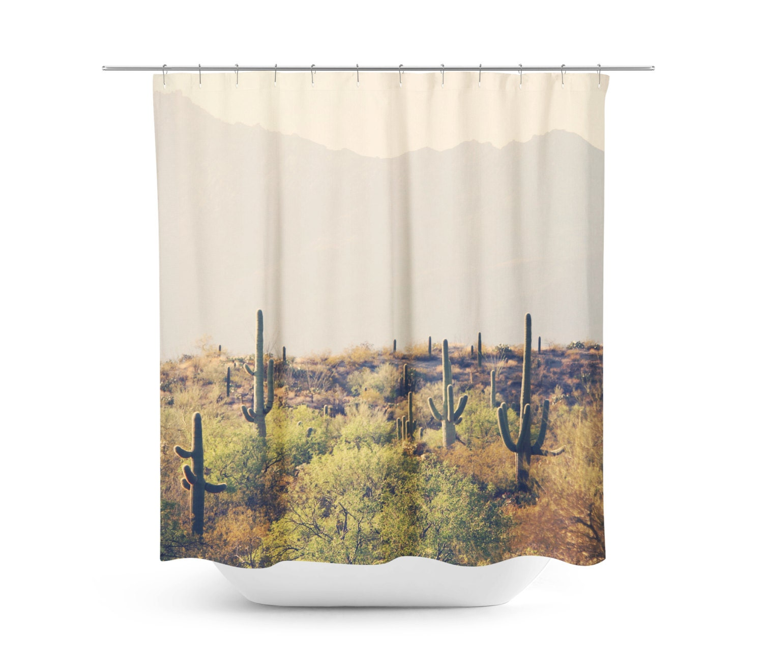 cactus shower curtain desert home decor rustic bathroom decor southwest photo tucson - Home Decor Tucson