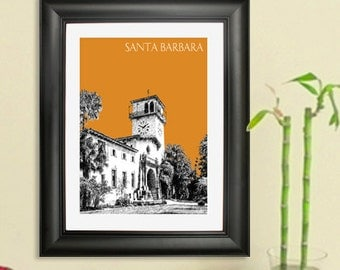 Santa Barbara Skyline Poster - Santa Barbara California City Skyline - Art Print - 8 x 10 Choose Your Color